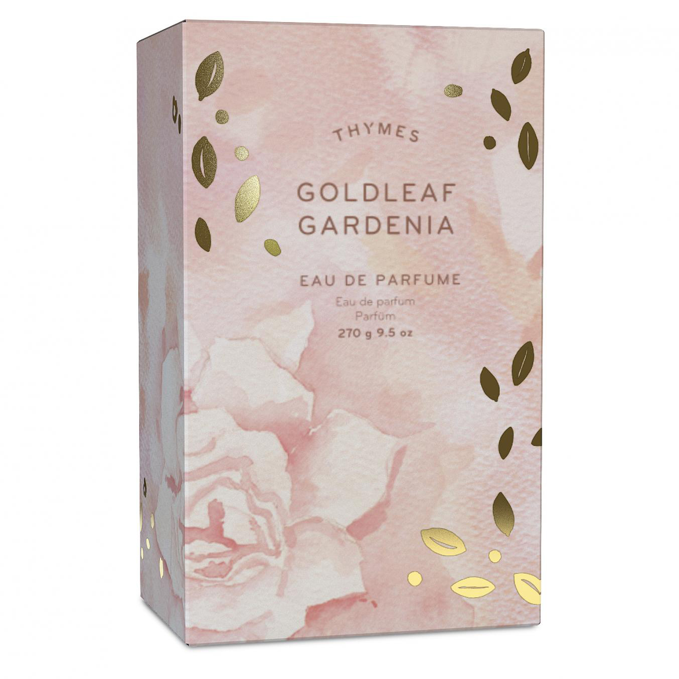 A 3D version of a Thymes GoldLeaf Gardenia packaging mockup.