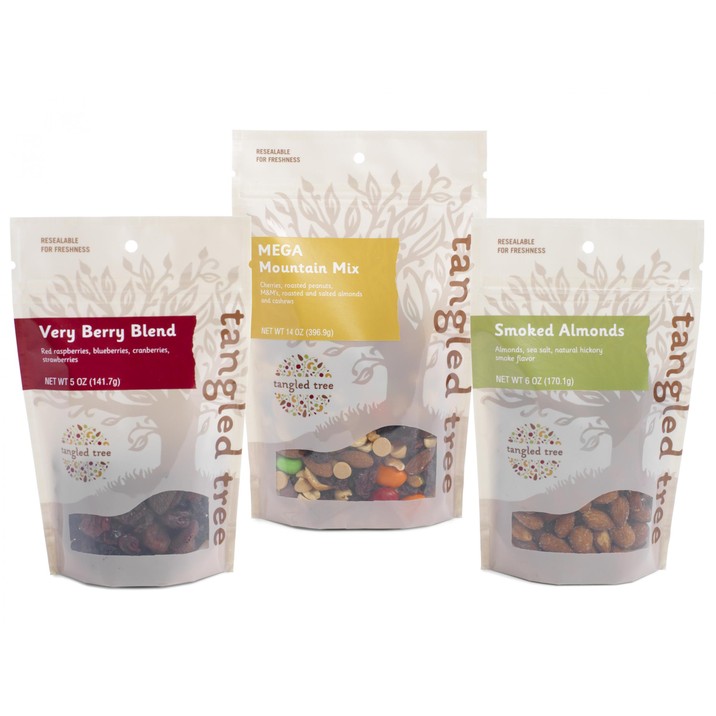 Trade show packaging mockups for Tangle Tree Snacks, printed with spot white on heat sealable poly with a spot gloss varnish.