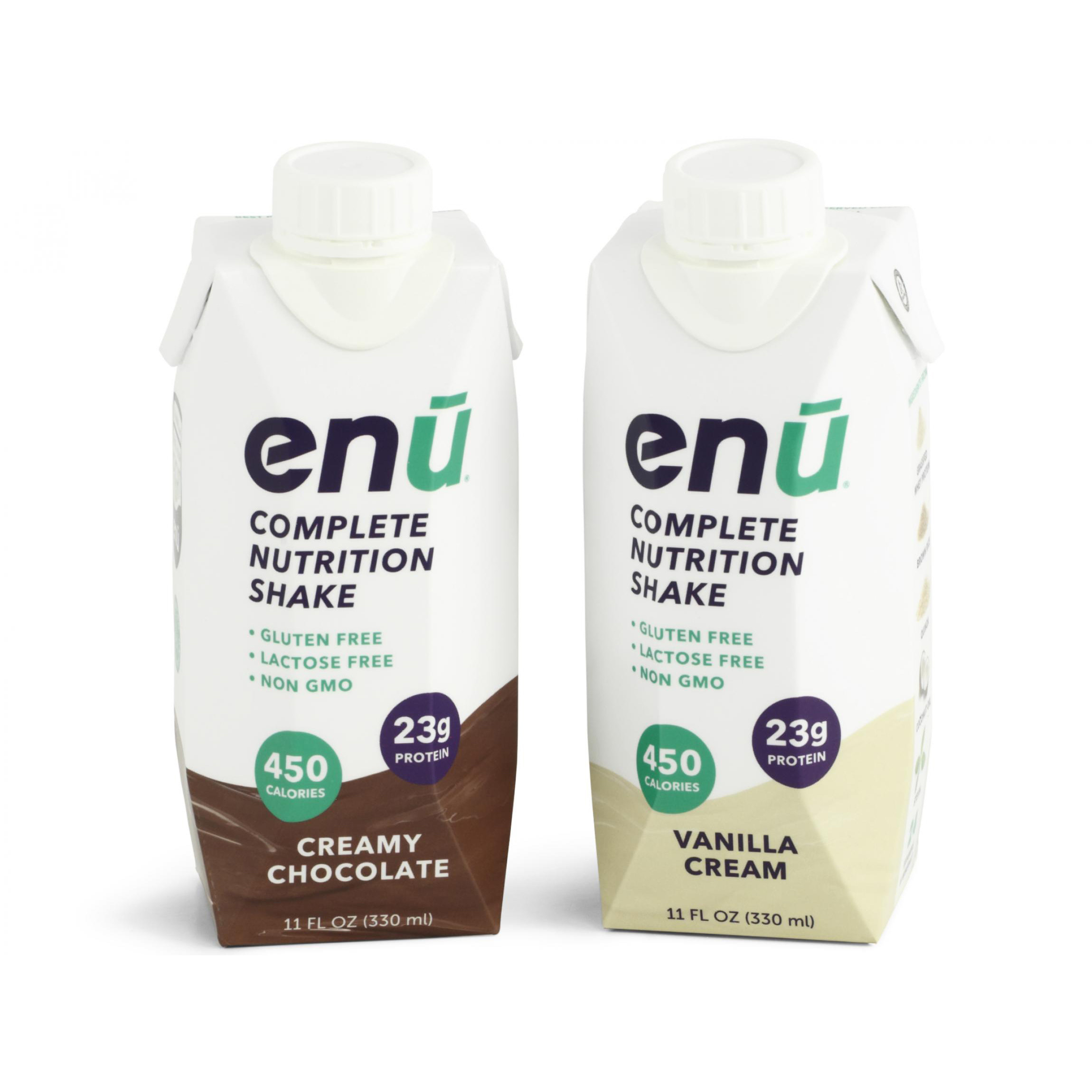 Enu Nutrition Shakes, Tetra Pak® style drink carton packaging mockups.