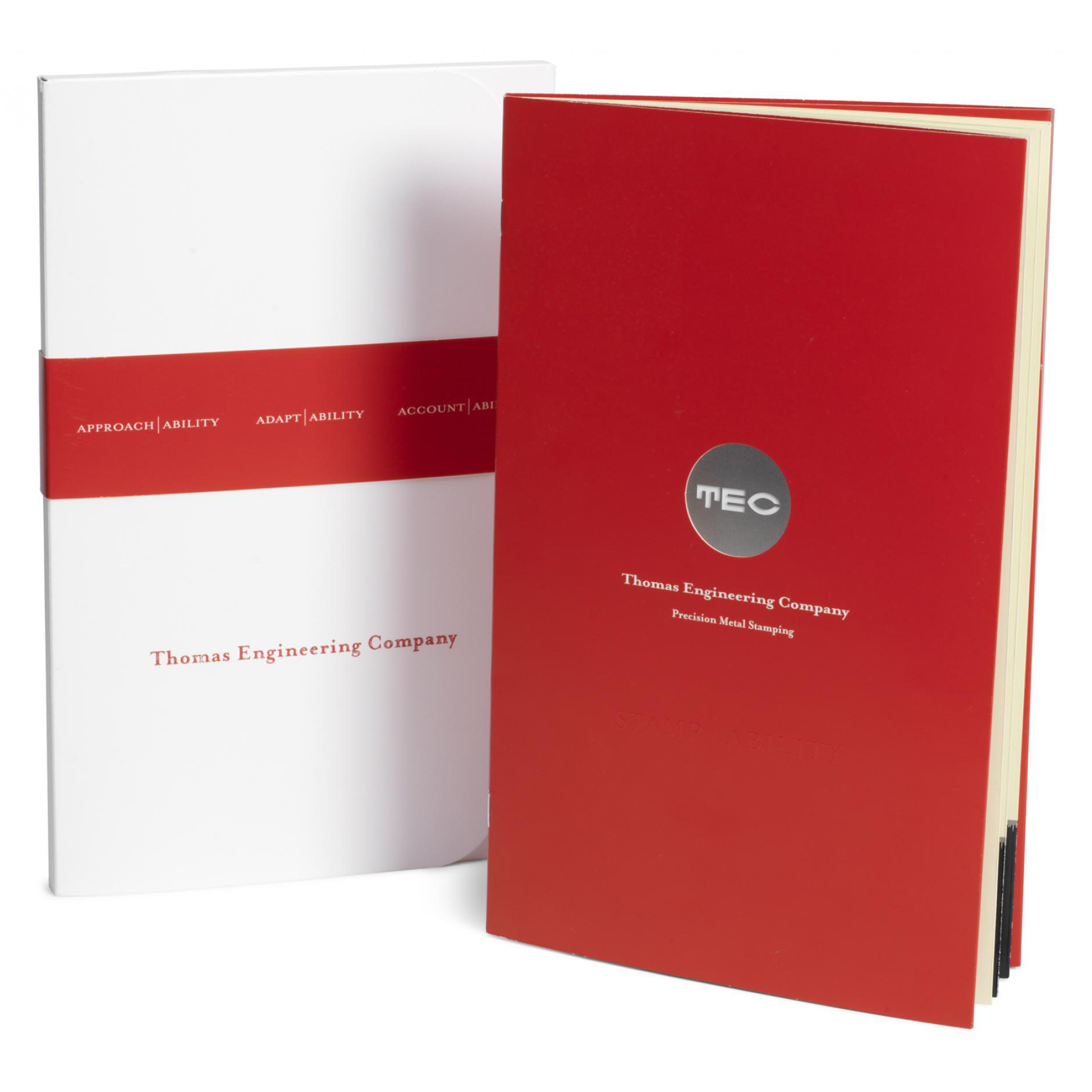 Cover and custom size folder for award-winning Thomas Engineering Company marketing piece.