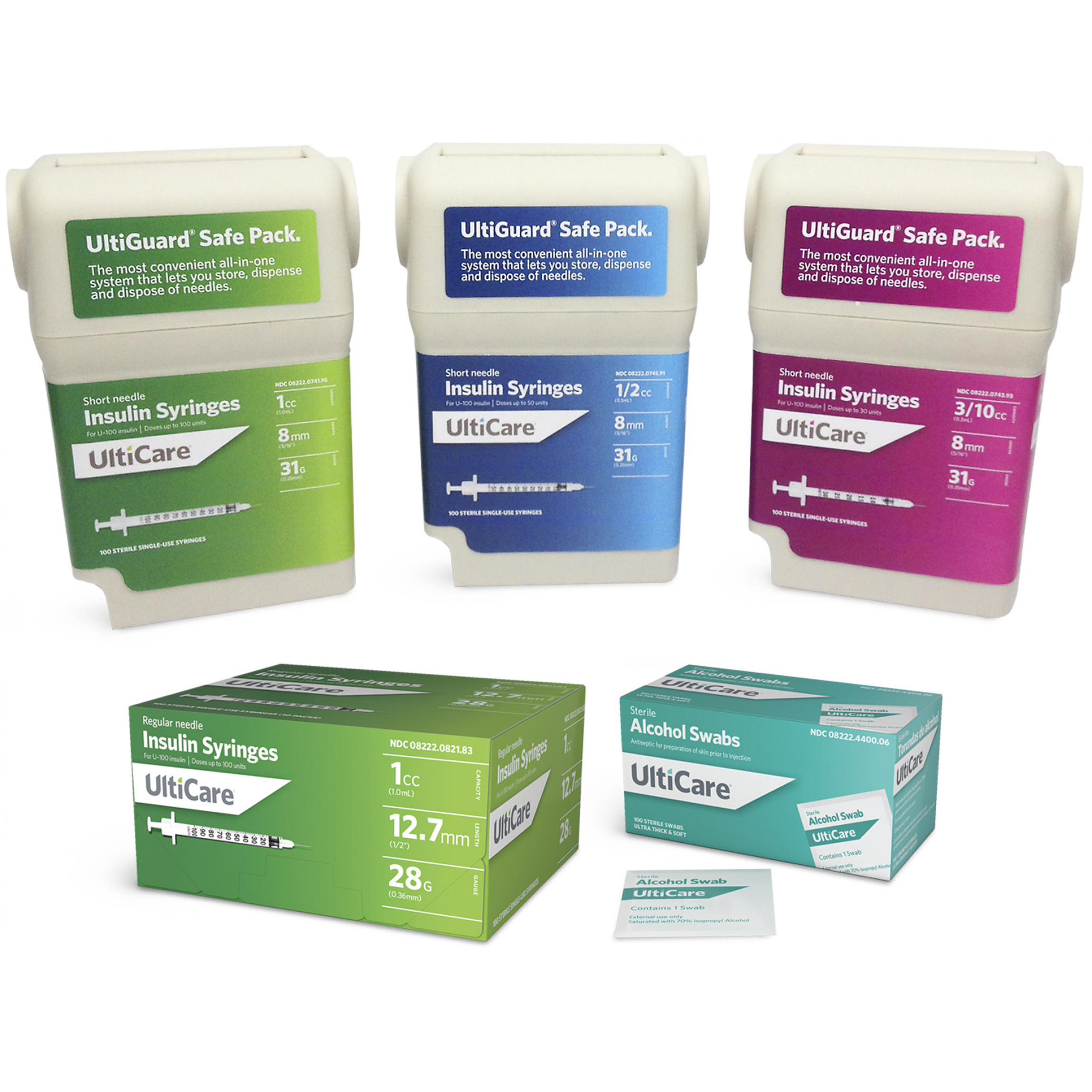 Examples of the packaging we produced for Untimed Inc., including sharps containers, product boxes and packets.