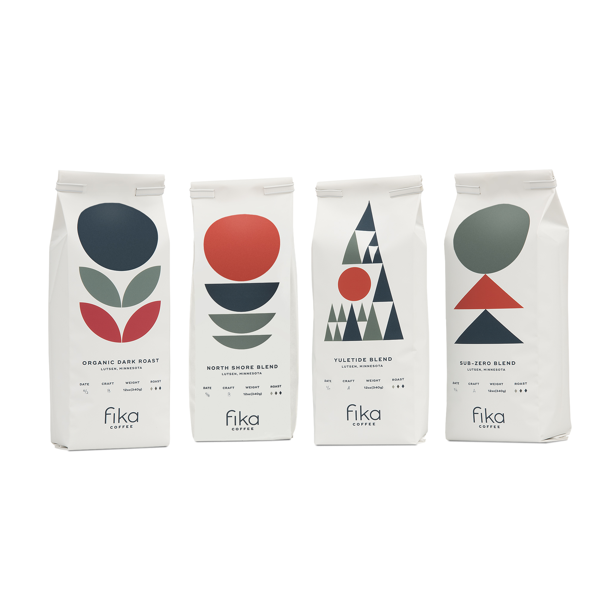 Group shot of 4 Fika brand coffee bags