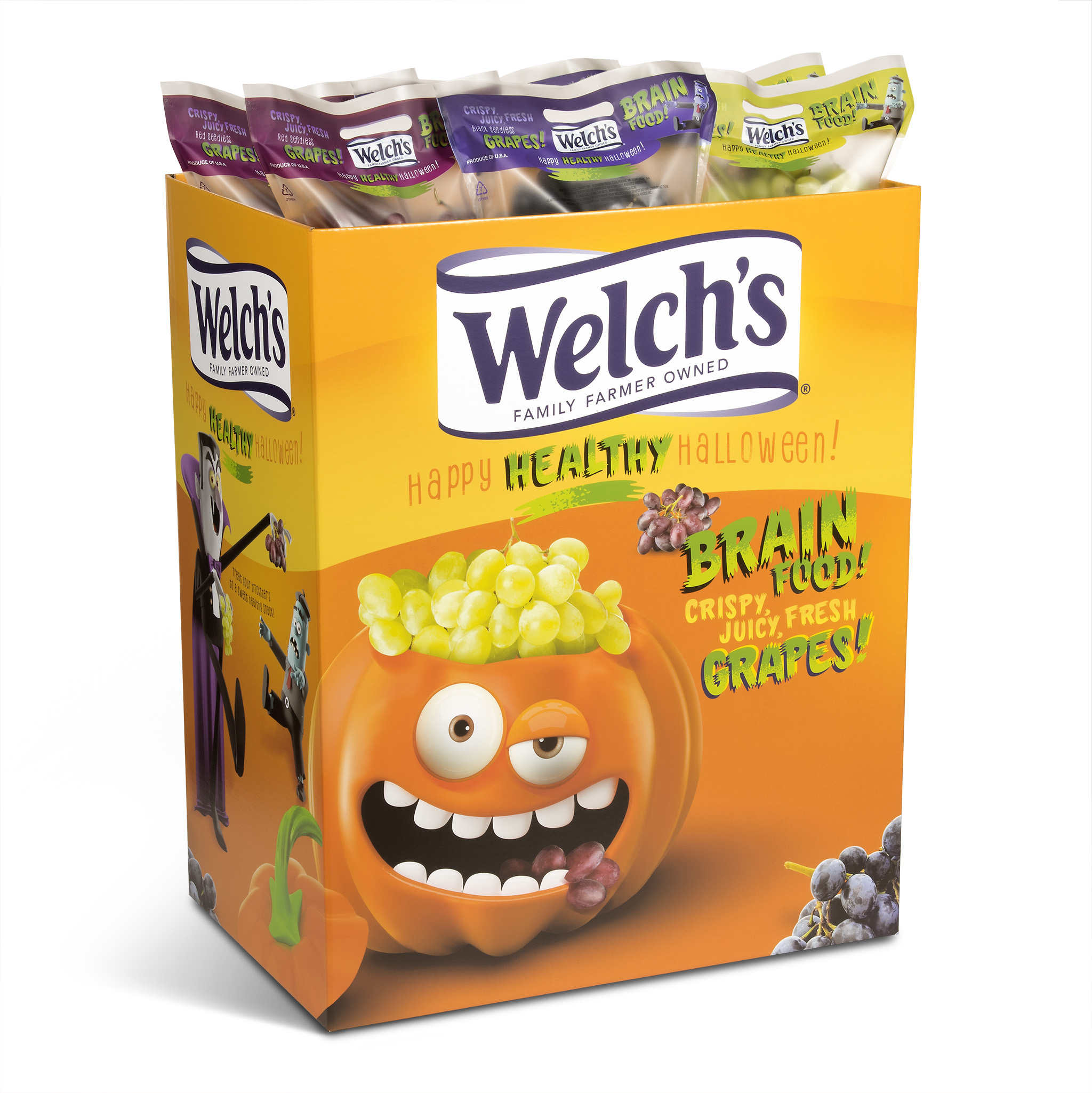 Image showing Welch's grape Halloween floor bin with bags